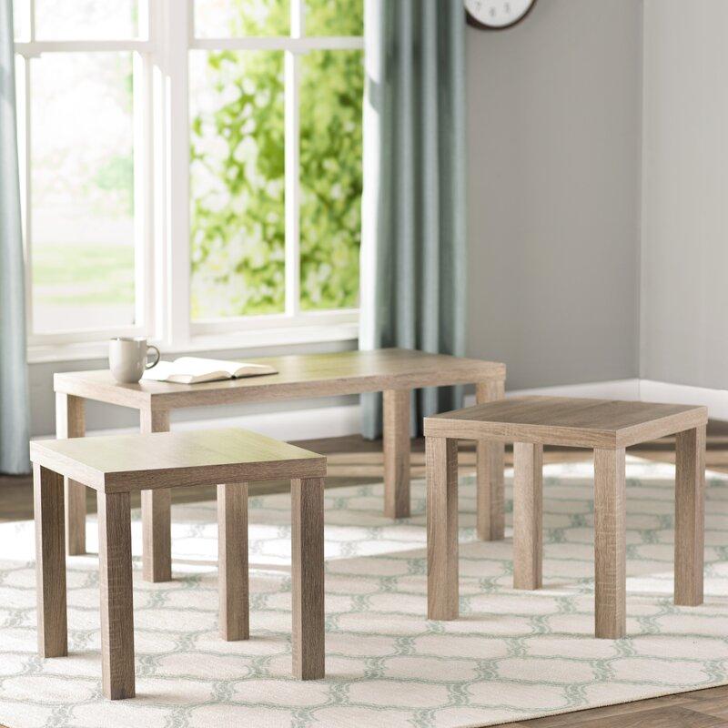 beachcrest home sunbury 3 piece coffee table set & reviews   wayfair