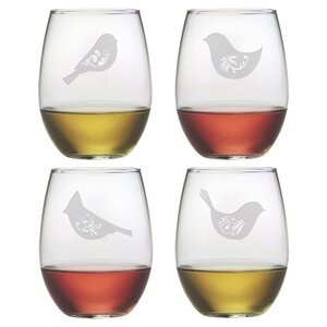 Birds of a Feather Stemless Wine Glass (Set of 4)