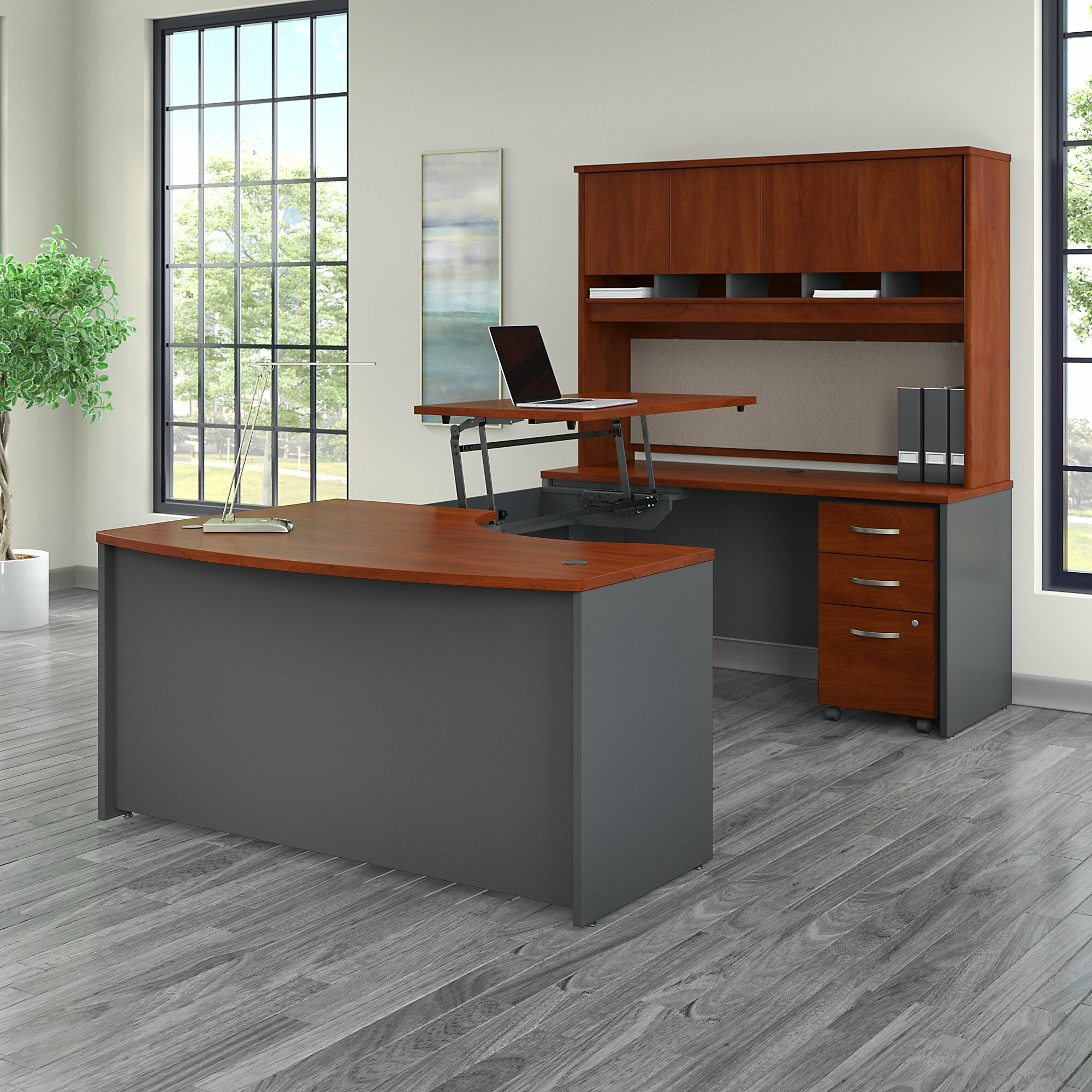 Bush Business Furniture Series C U Shaped Standing Desk With Hutch | Wayfair