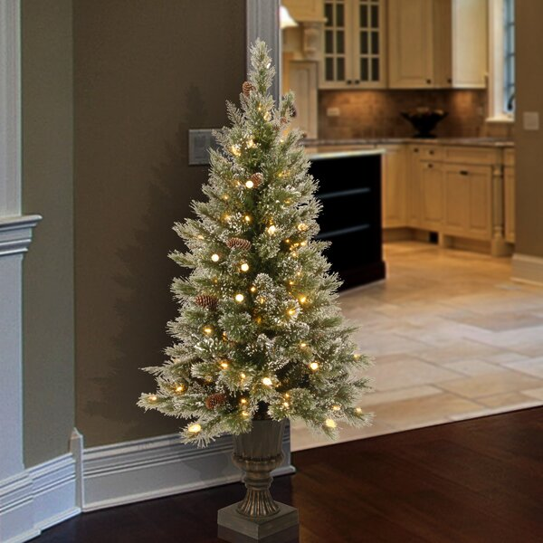 Green And White Christmas Tree: Green/White Pine Artificial Christmas Tree With 150 Clear