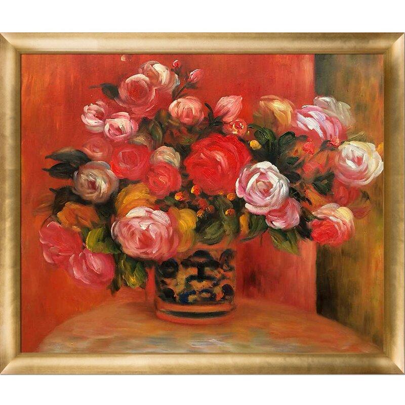 Tori Home Roses In A Vase By Pierre Auguste Renoir Framed Oil