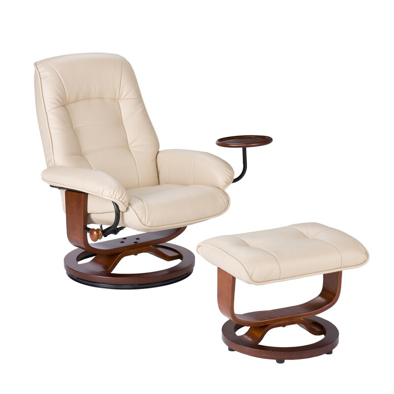 Gibsonburg Ergonomic Manual Swivel Recliner With Ottoman