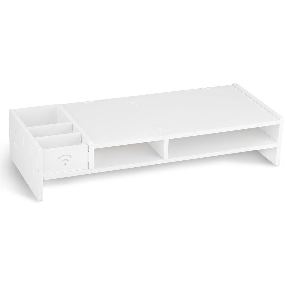 Rebrilliant Ennis Wood Plastic Composite Computer Monitor Stand Desktop  Organizer Rack With 5 Compartment Storage   Wayfair