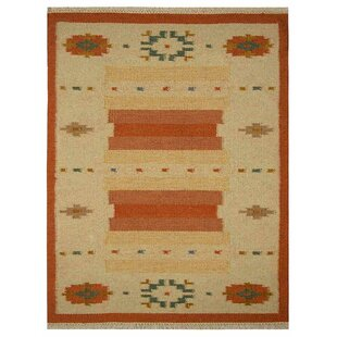Compare prices St Catherine Handmade Wool White Rust Area Rug By Millwood Pines