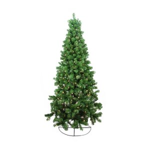 6 rockport pine artificial half wall christmas tree with clear lights - Wall Christmas Tree