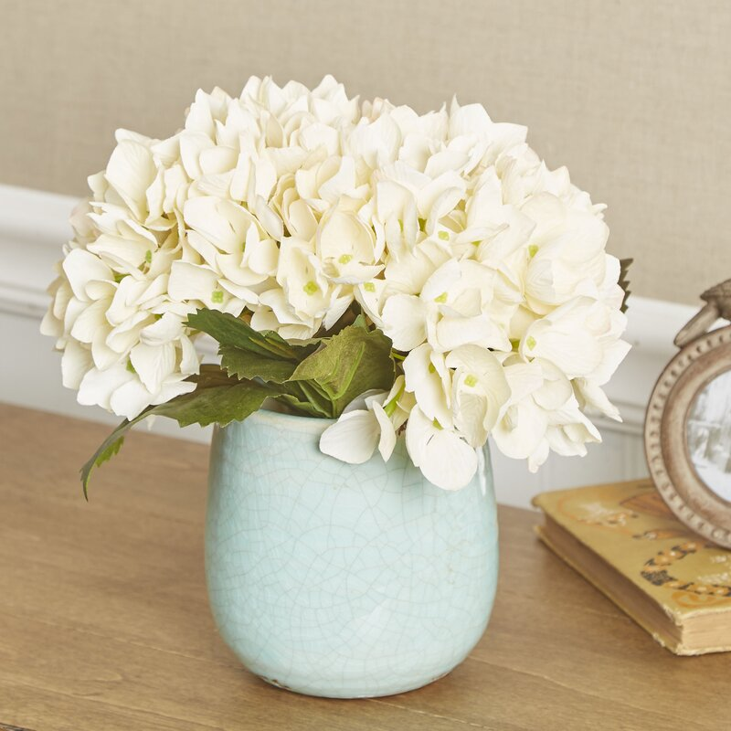 Birch Lane Faux Cream Hydrangea In Blue Vase Reviews Birch Lane