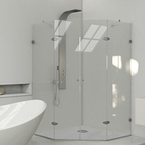 Gemini 45.625 x 45.625-in. Frameless Neo-Angle Shower Enclosure with .375-in. Clear Glass and Chrome Hardware