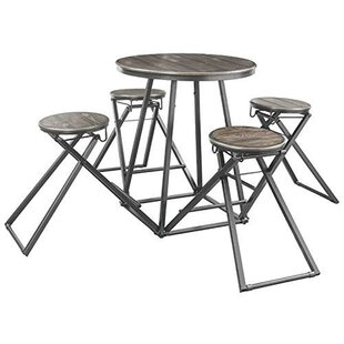 Buckmaster Wood and Metal Counter Height 5 Piece Pub Table Set