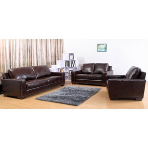 Portsmouth Leather 3 Piece Living Room Set Sets You ll Love  Wayfair