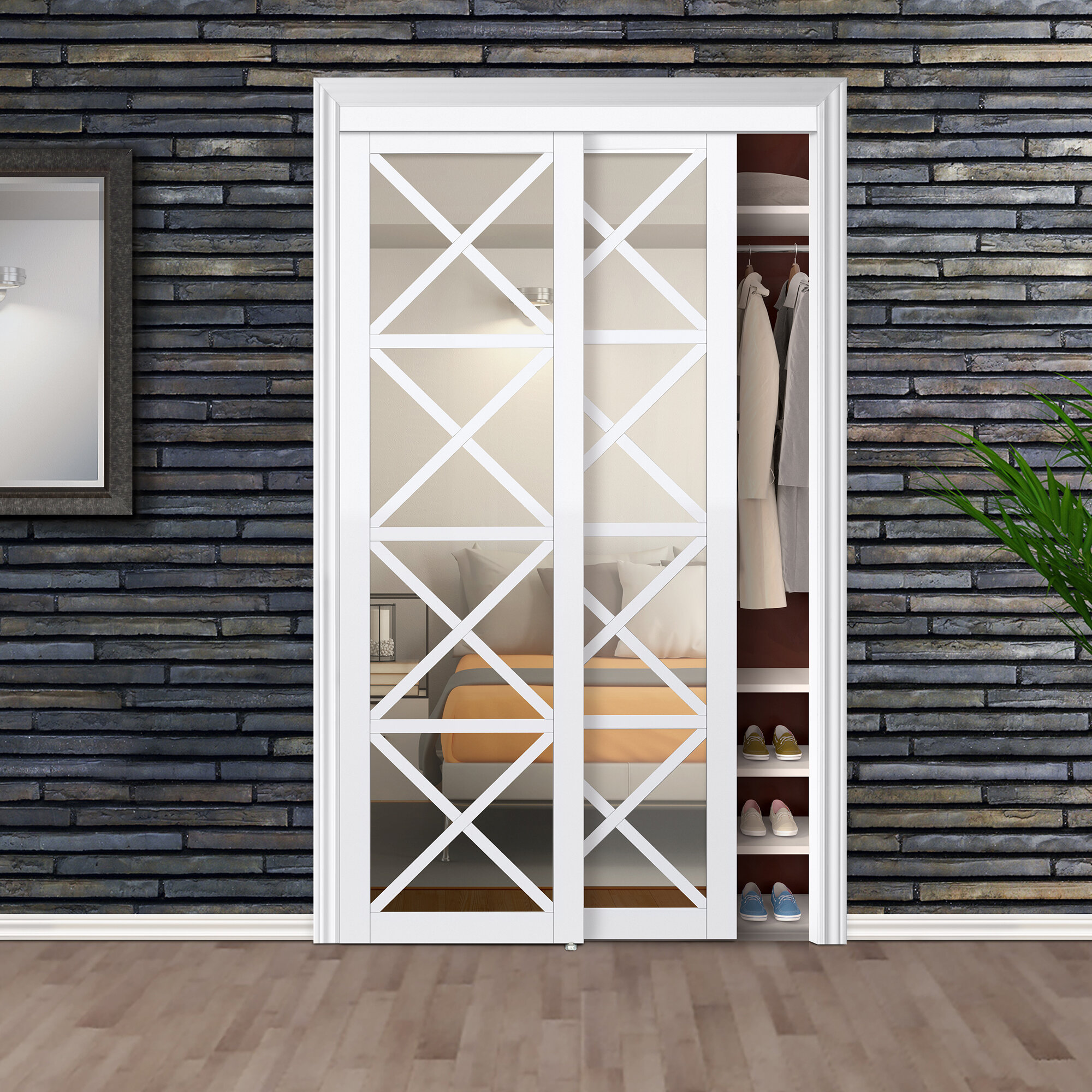 . Mirrored Manufactured Wood Glass Lace Sliding Closet Door