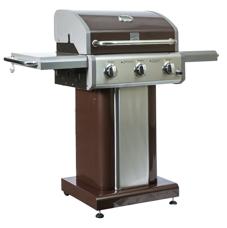 Kenmore 3 Burner Propane Gas Grill with Side Shelves ...