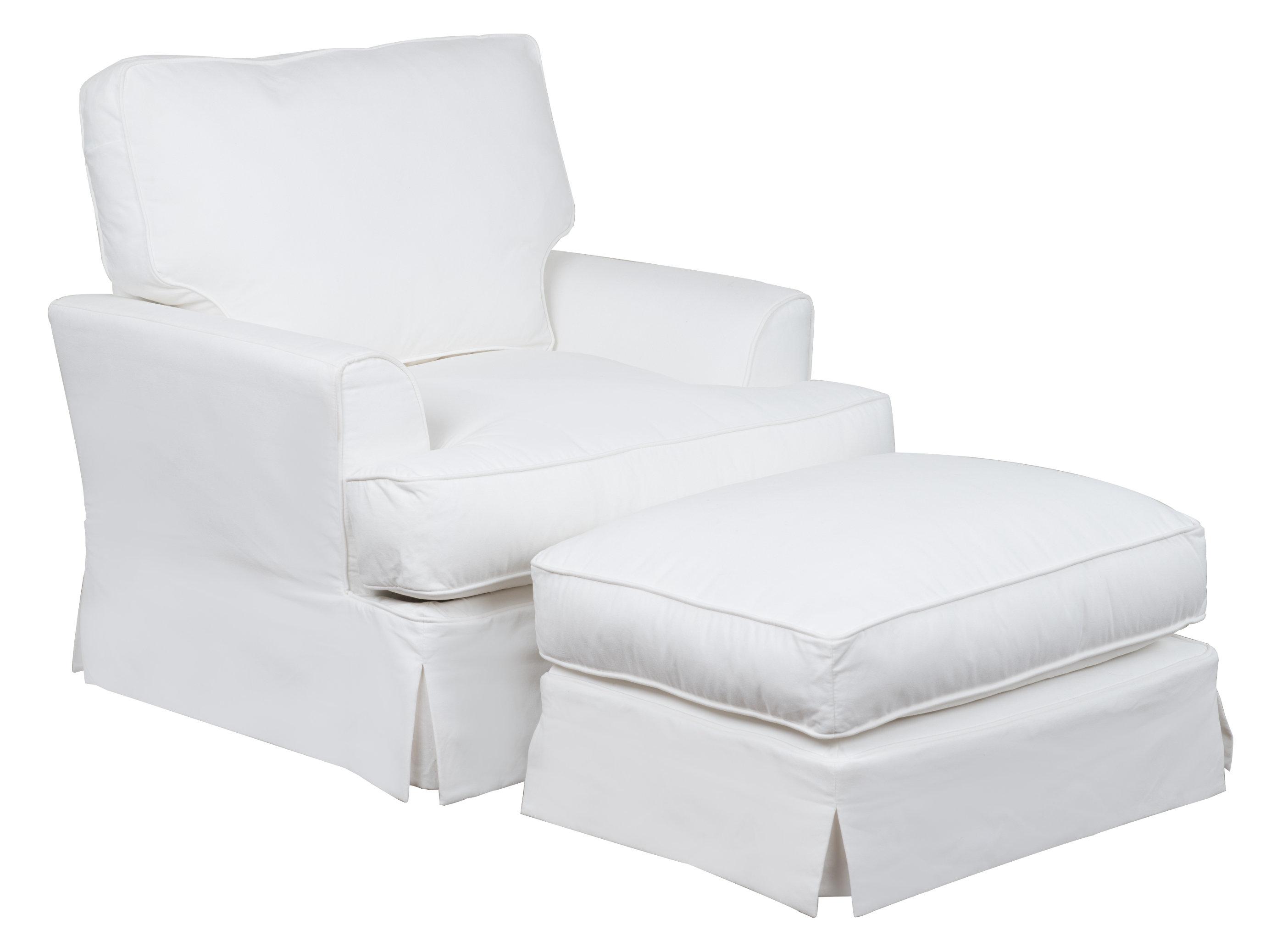 Elenora Slipcovered Armchair And Ottoman