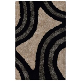 Lilo Shaggy Oriental Hand-Tufted Black/White/Gray Area Rug By Ebern Designs