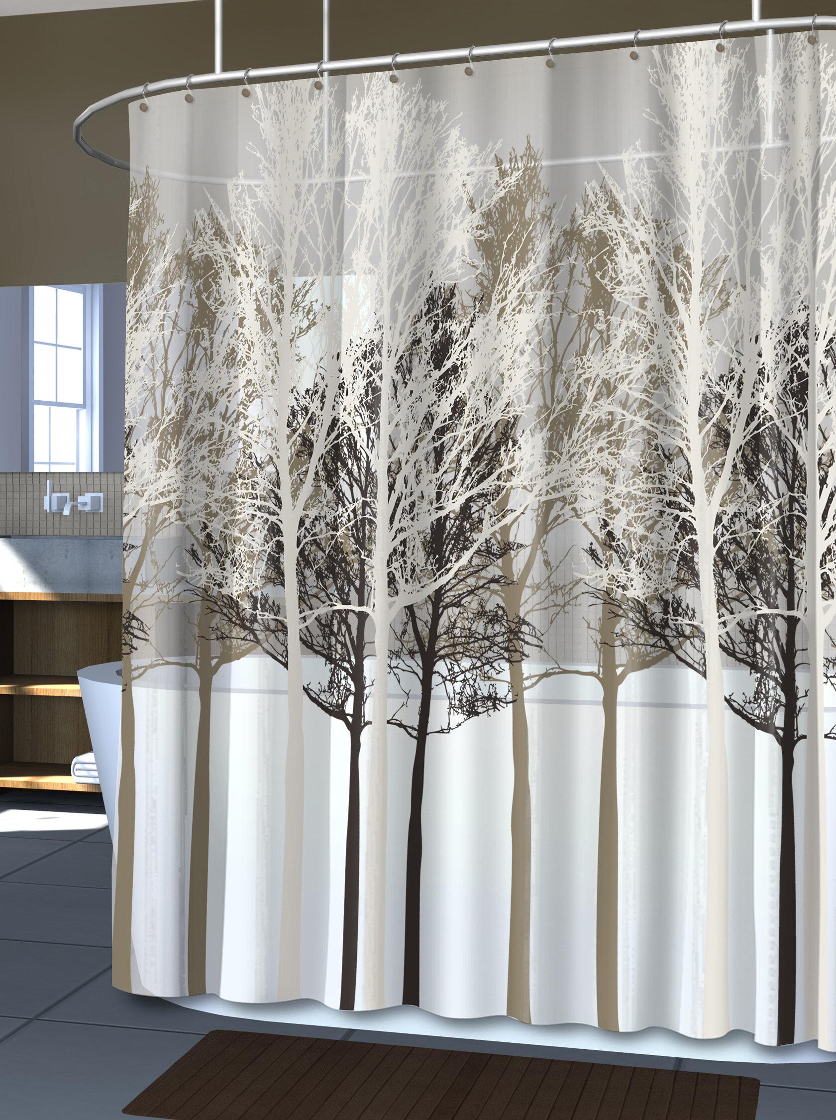 Winston Porter Massenburg PEVA 5G Forest Vinyl Shower Curtain Liner