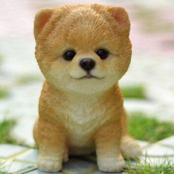 Hi Line Gift Ltd Sitting Pomeranian Puppy Statue