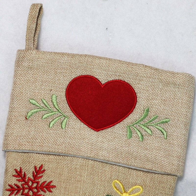 5c3acbfba The Holiday Aisle Burlap Santa Claus in Sleigh Embroidered Christmas ...