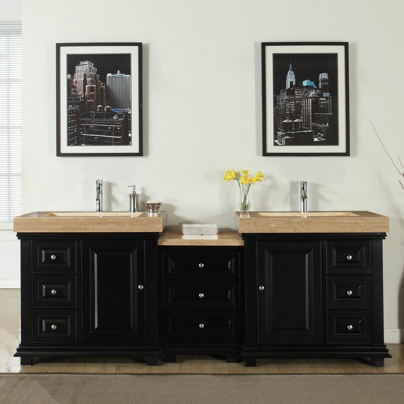 Silkroad Exclusive 90 Double Sink Modern Bathroom Vanity Set