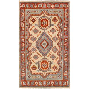 One Of A Kind Hand Woven Wool Cream Red Area Rug