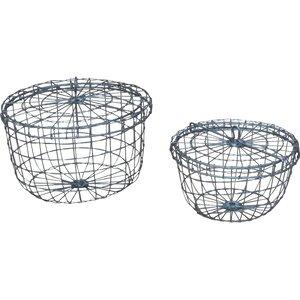 2-tlg. Drahtkorb-Set Round aus Metall von Home Loft Concept