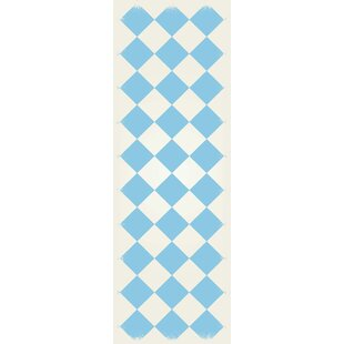 Reviews Welton Diamond European Design Light Blue/White Indoor/Outdoor Area Rug By Winston Porter