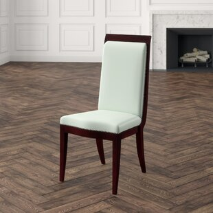Elegant Deco Genuine Leather Upholstered Dining Chair
