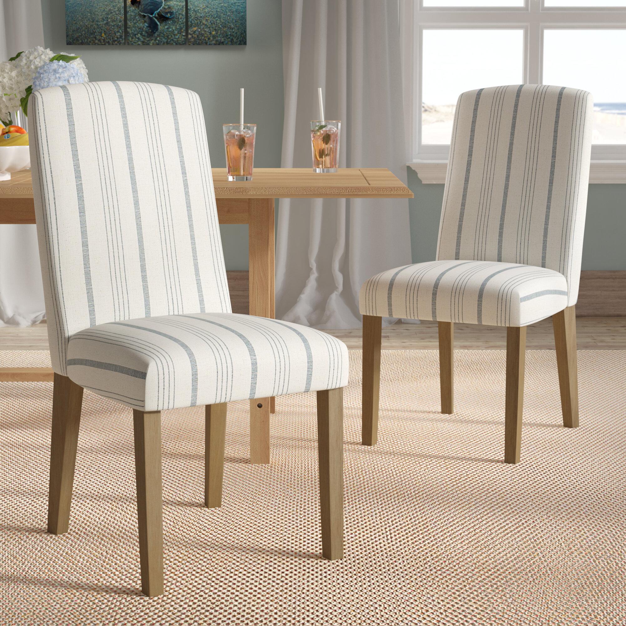 Beachcrest Home Lake Kathryn Stripe Parsons Chair U0026 Reviews   Wayfair