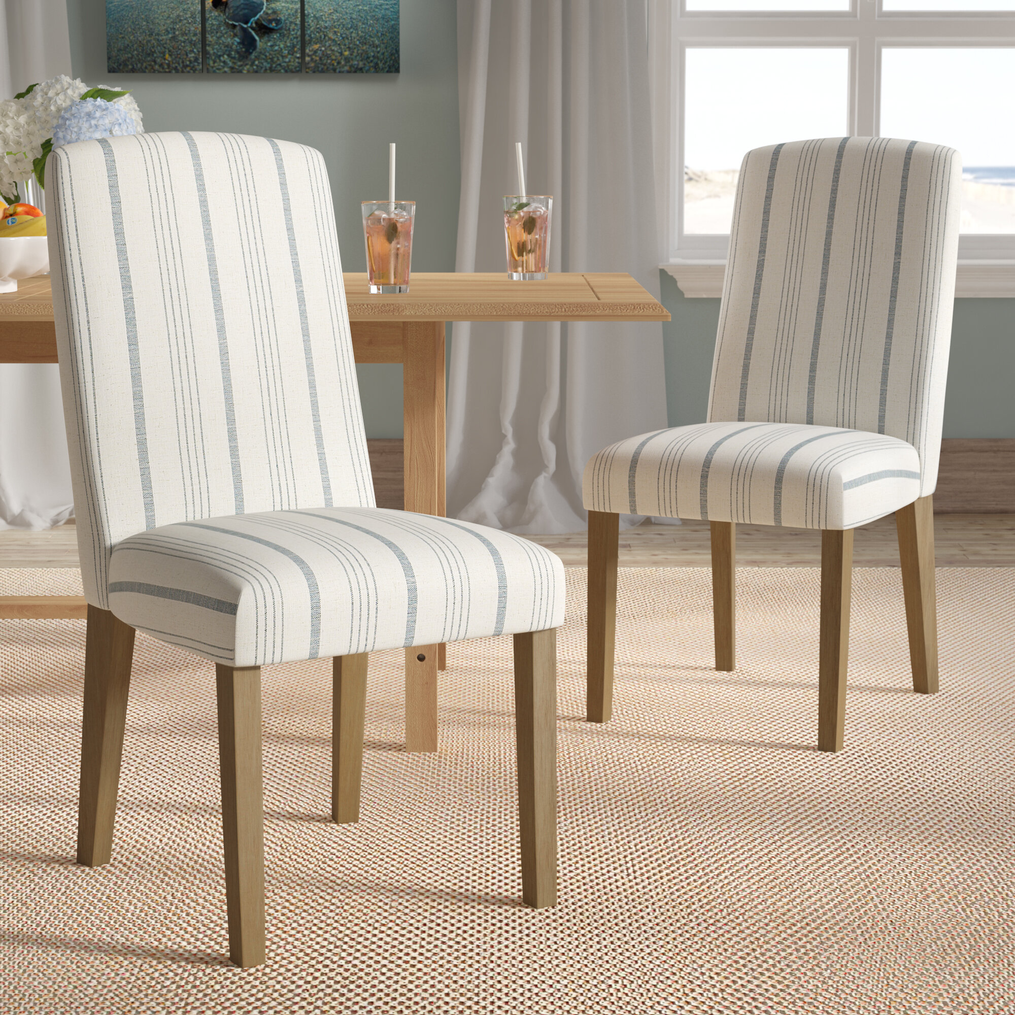 Beachcrest Home Lake Kathryn Stripe Upholstered Dining Chair Reviews