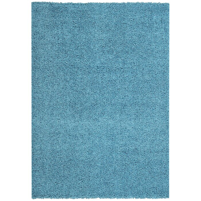 Burns Single Solid French Blue Shag Area Rug