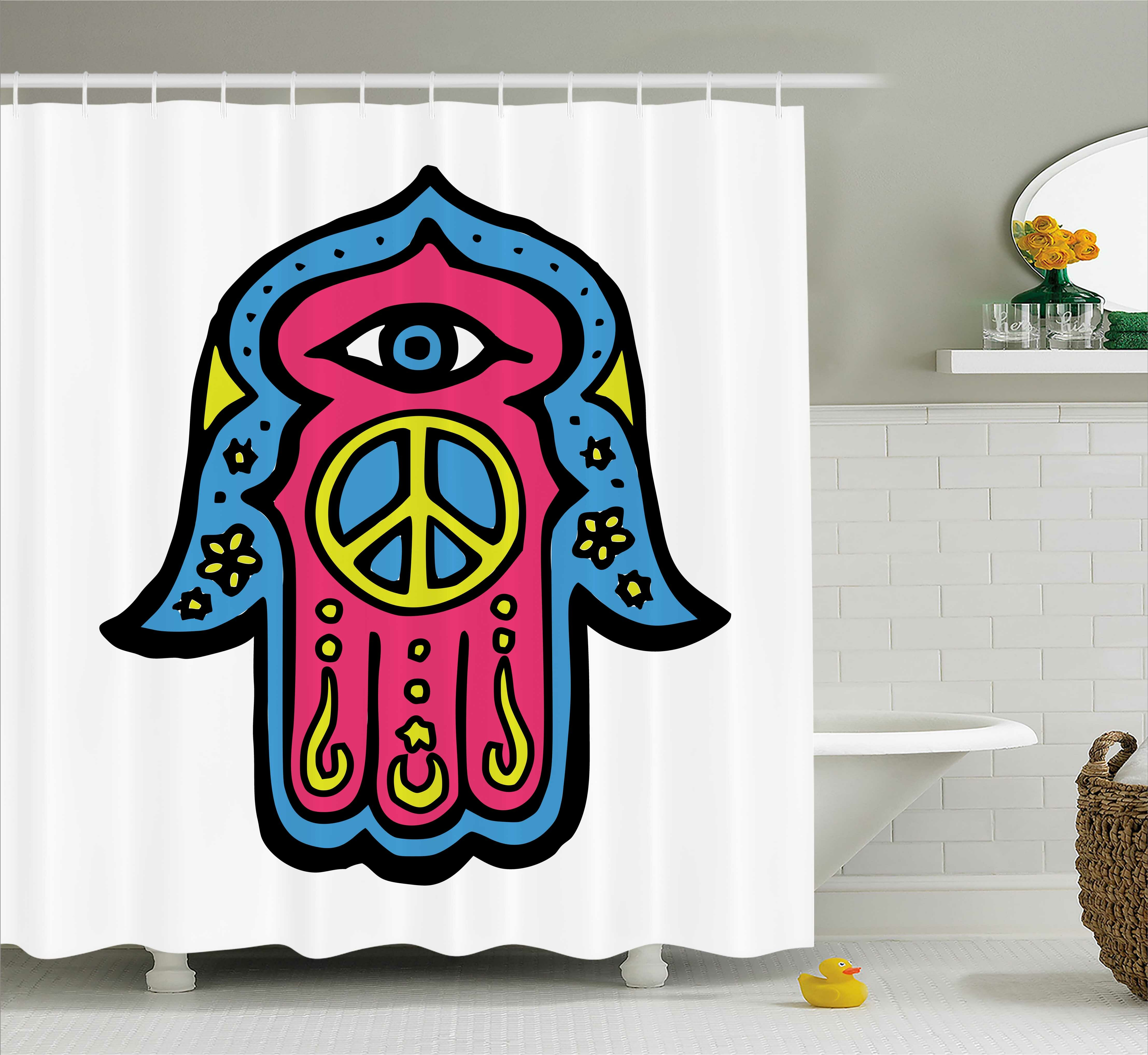 Ebern Designs Annette Hamsa Hippie Boho Hand Of Fatima With Peace Sign Shower Curtain