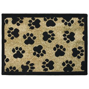 PB Paws & Co. Gold World Paws Tapestry Area Rug