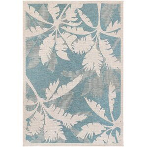 Odilia Coastal Flora Ivory/Turquoise Indoor/Outdoor Area Rug