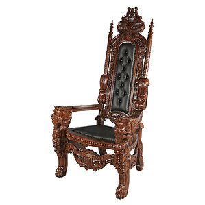 The Lord Raffles Leather Lion Throne Armchair