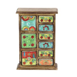 Traditional Wooden Framed 9-Drawer Ceramic Jewelry Box