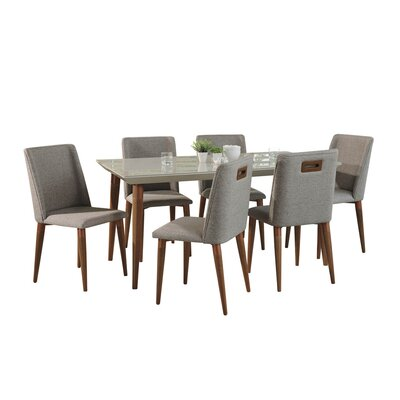 George Oliver Lemington 7 Piece Solid Wood Dining Set Color: Off White/Gray