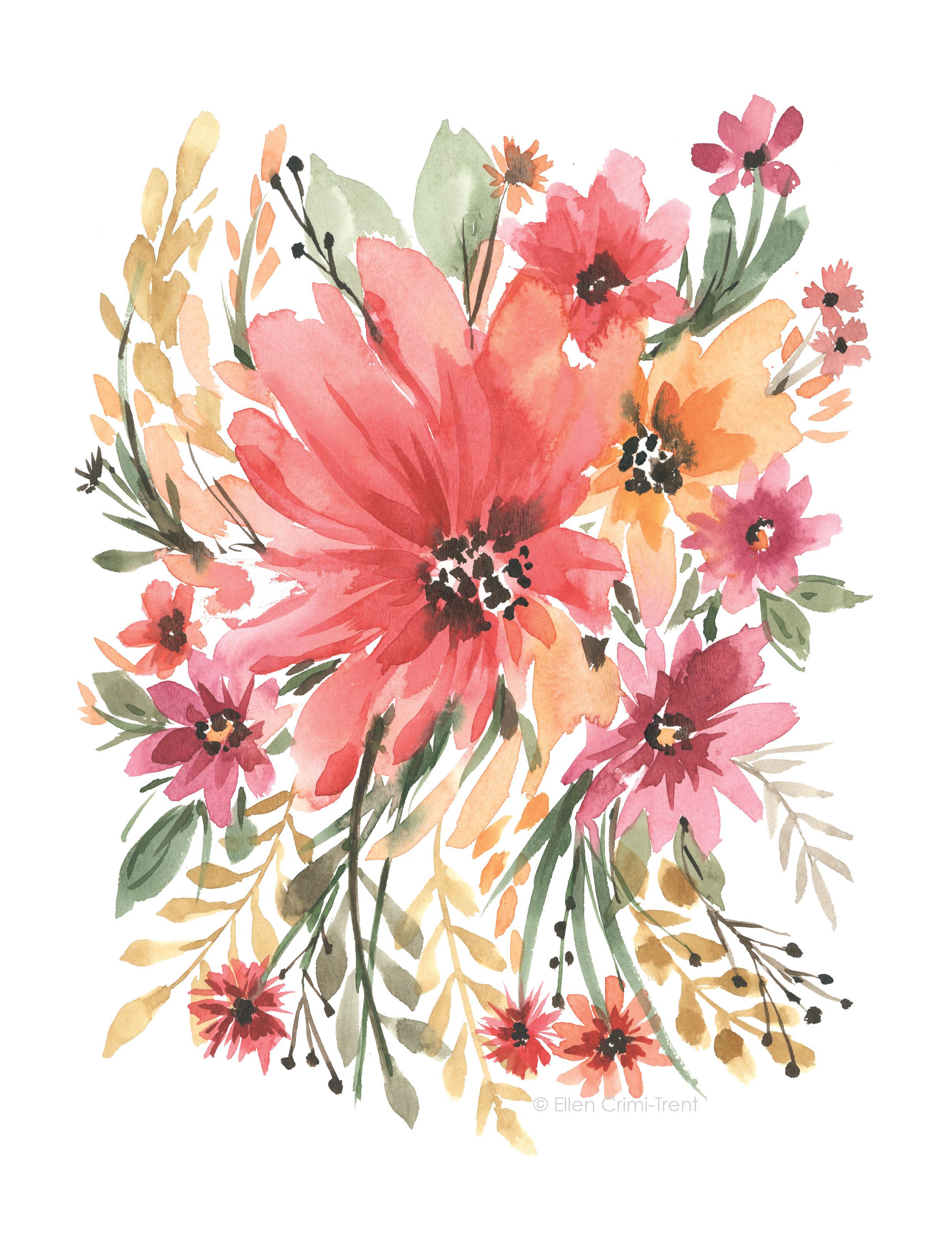 Ellen Crimi Trent Boho Chic Watercolor Floral Painting Print On