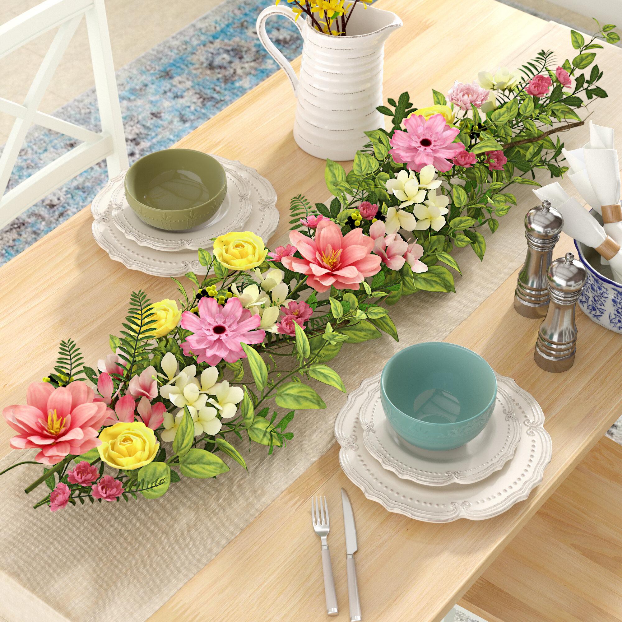 August Grove Spring Flower And Berry Garland Reviews Wayfair