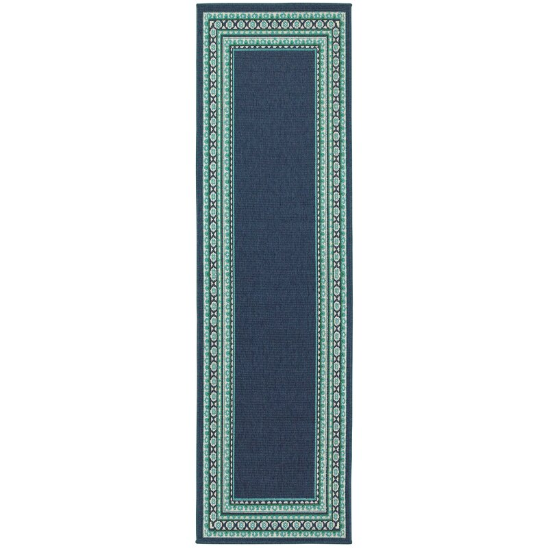 Beachcrest Home Kailani Navy/Green Indoor/Outdoor Area Rug ...