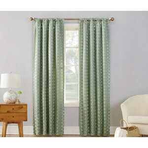 Atticus Metallic Damask Blackout Rod Pocket Single Curtain Panel
