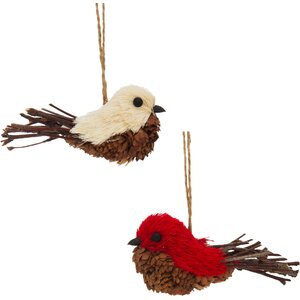 Natural Fiber Holiday Bird 2 Piece Ornament Set