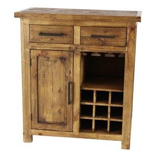 bergeronnes rustic pine wood brown 9bottle floor wine cabinet with drawers and stemware rack