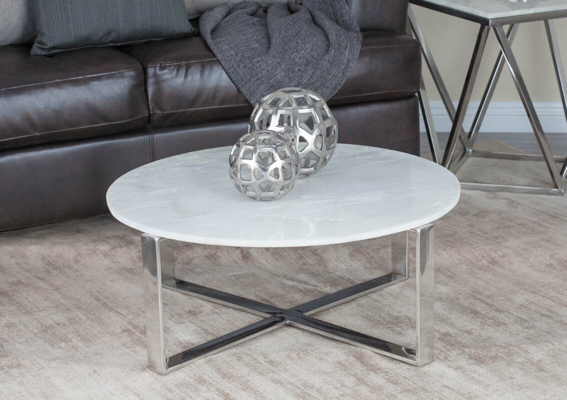 Cole grey stainless steelmarble coffee table reviews wayfair stainless steelmarble coffee table geotapseo Images