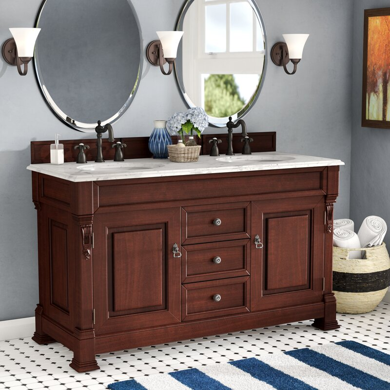 "darby home co bedrock 60"" double bathroom vanity set with drawers 22 Bathroom Vanity"