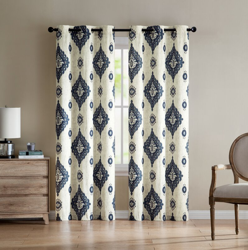 default_name - Bungalow Rose Quiroz Damask Room Darkening Grommet Curtain Panels