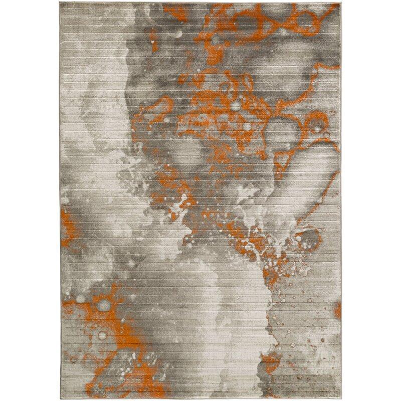 Trent Austin Design Chartwell Light Gray Burnt Orange Area