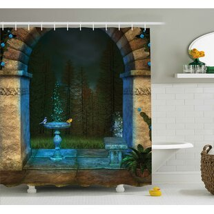 5e005ad0aa Forest Landscape From Ancient Archway Birds on Fountain Fairy Image Single  Shower Curtain