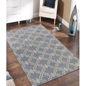 Lamontagne Trellis Wool Hand-Tufted Blue Area Rug