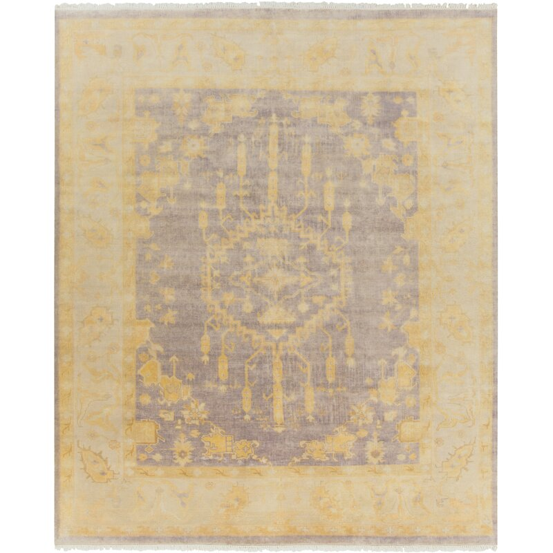 Alcott Hill Moline Hand-Knotted Wool Gold/Gray Area Rug, Size: Rectangle 8 x 10