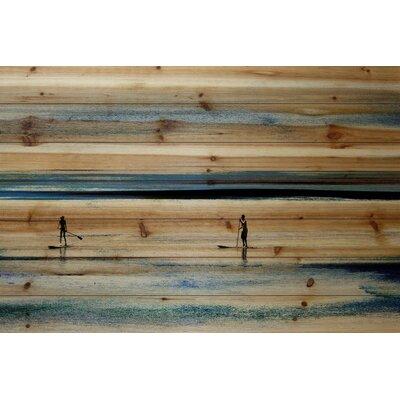 Highland Dunes 'Surfboard Paddling' by Parvez Taj Painting Print on Natural Pine Wood