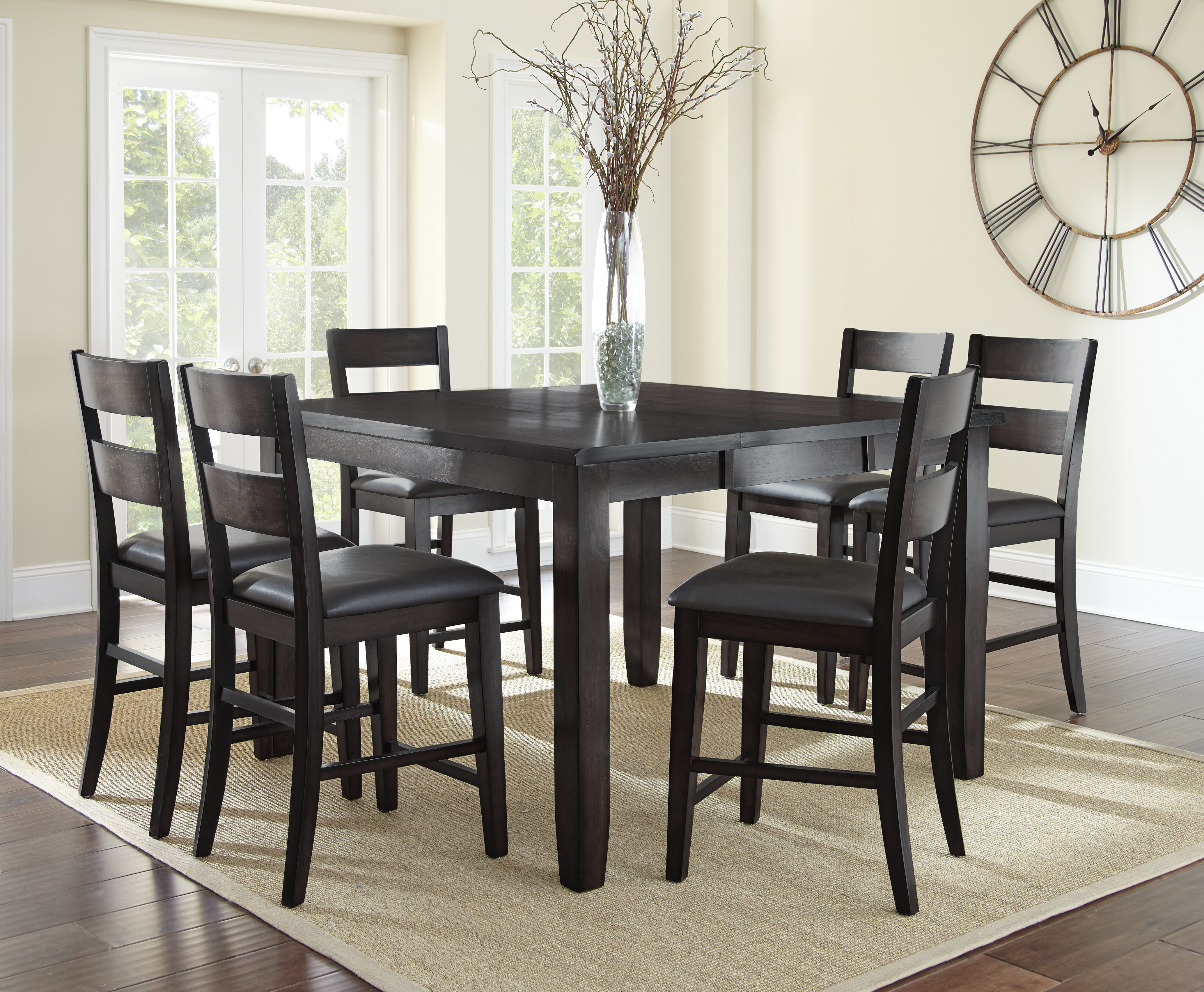 Wynwood 7 Piece Counter Height Solid Wood Dining Table Set