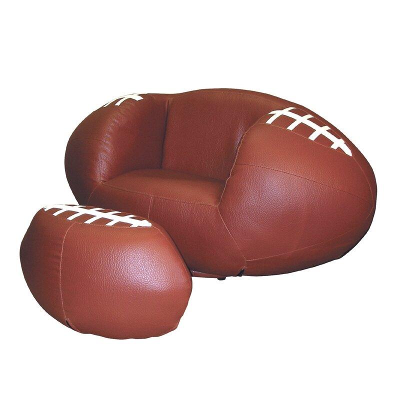 Football Sports Kids Novlety Chair and Ottoman